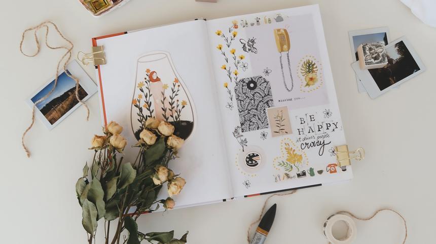 Wie funktioniert Scrapbooking? Wir geben dir tolle Inspirationen für dein Scrapbook-Album mit eigenen Fotos.