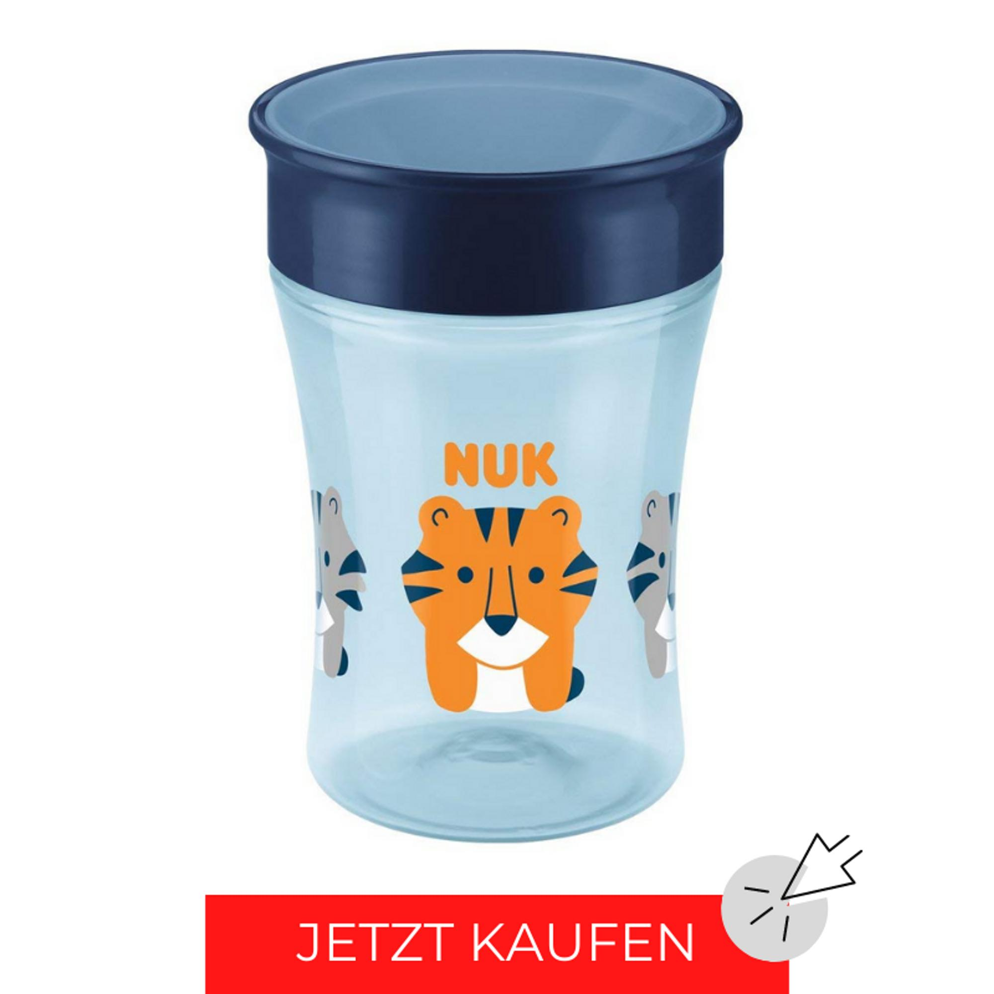 NUK Magic Cup: blau mit Tiger-Muster