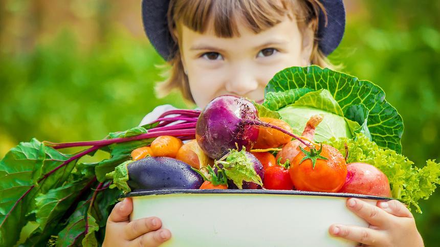 Mädchen trägt Schüssel mit Gemüse