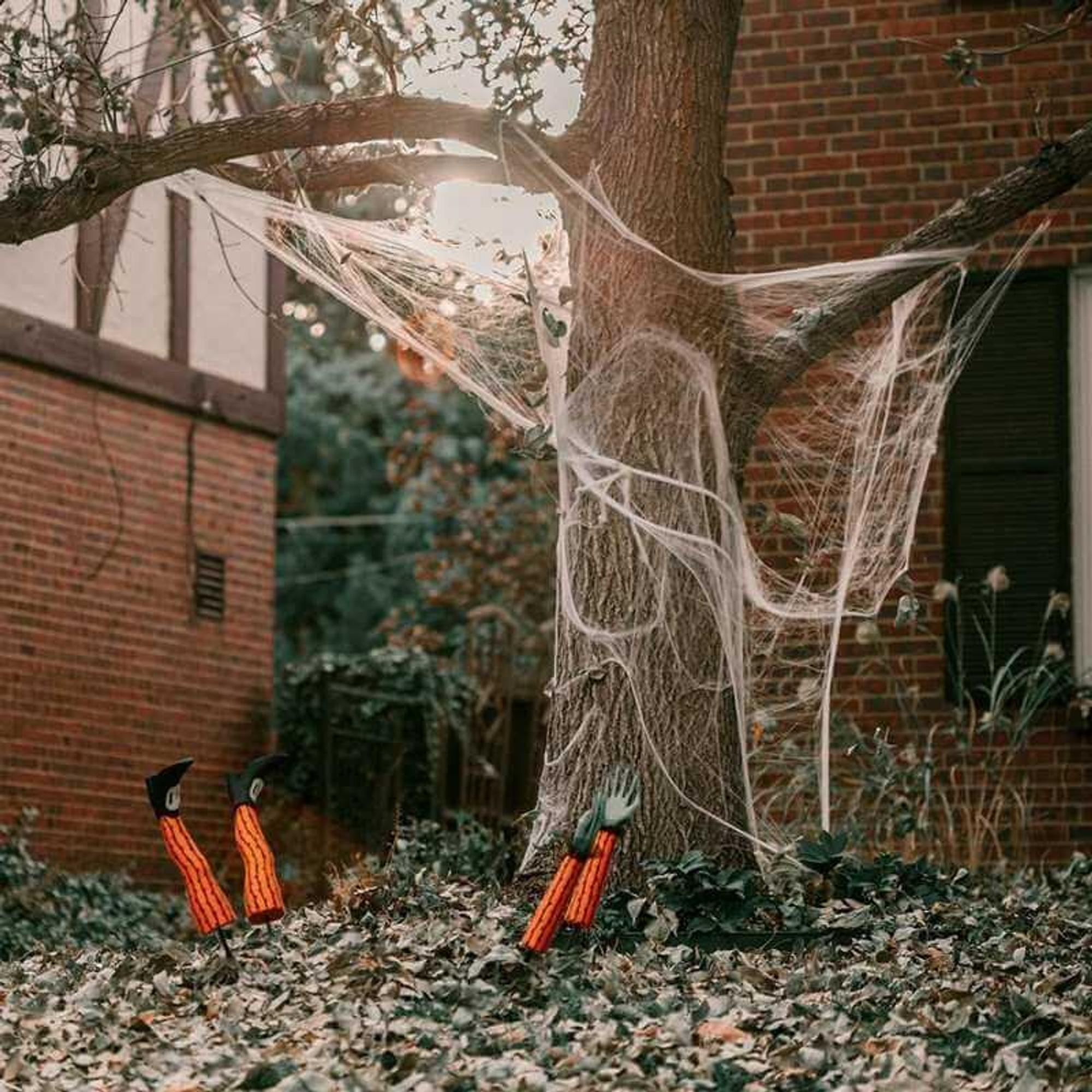 Halloween-Deko basteln für den Garten: Spinnenweben am Baum