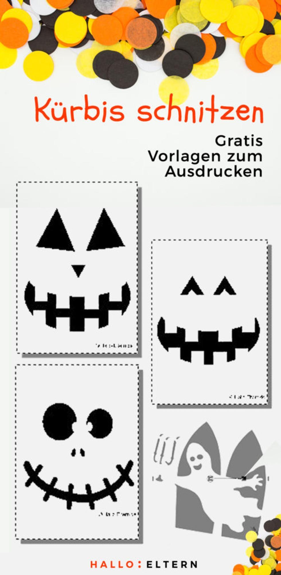 Pin: Anleitung zum Kürbis schnitzen mit Vorlagen zum Download