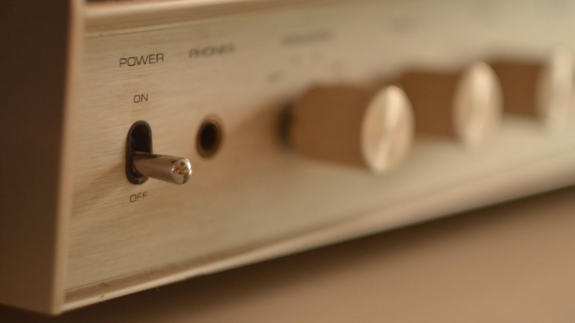 On-Off-Schalter einer Soundanlage