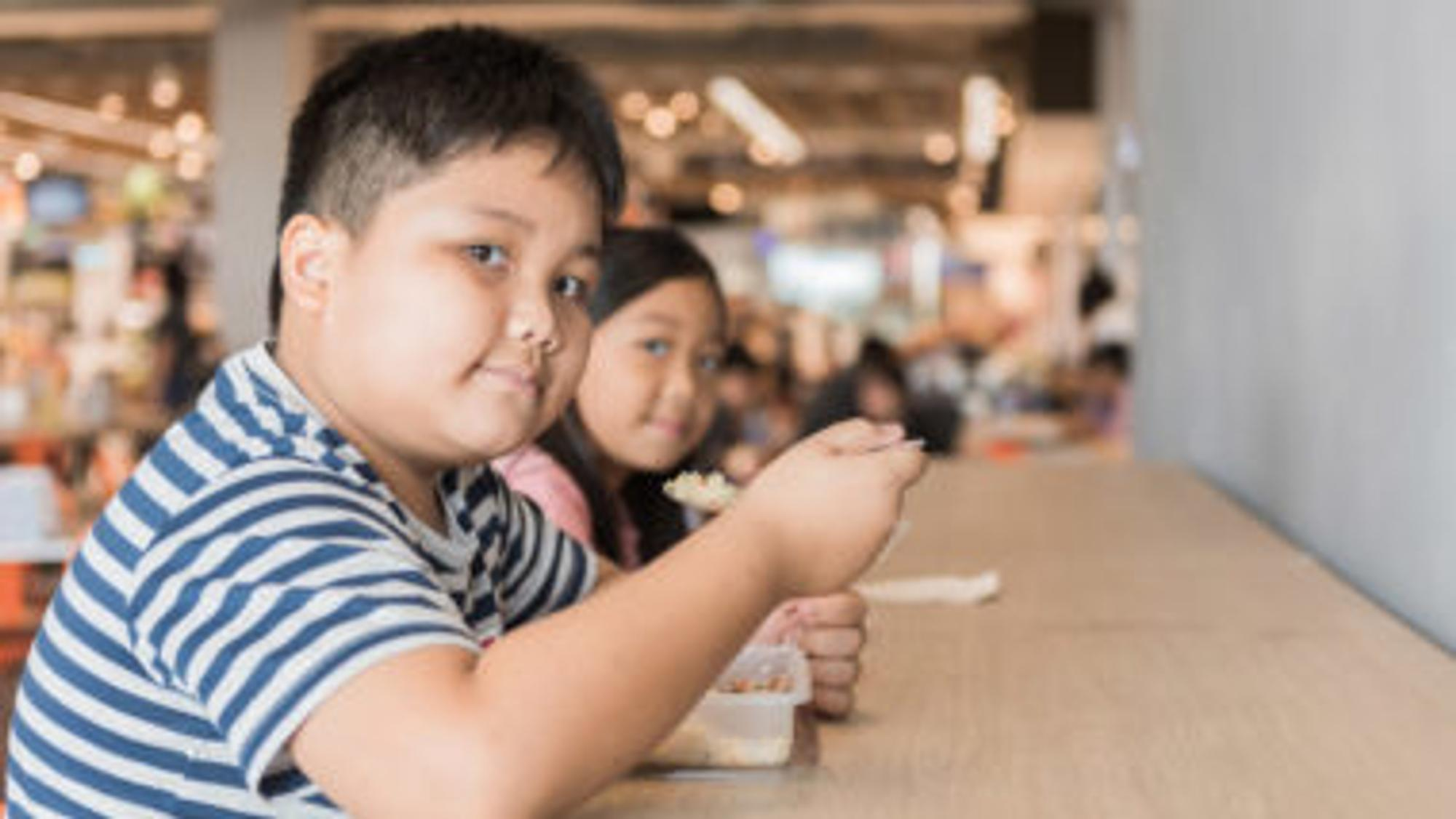 Zwei dicke Kinder, die essen