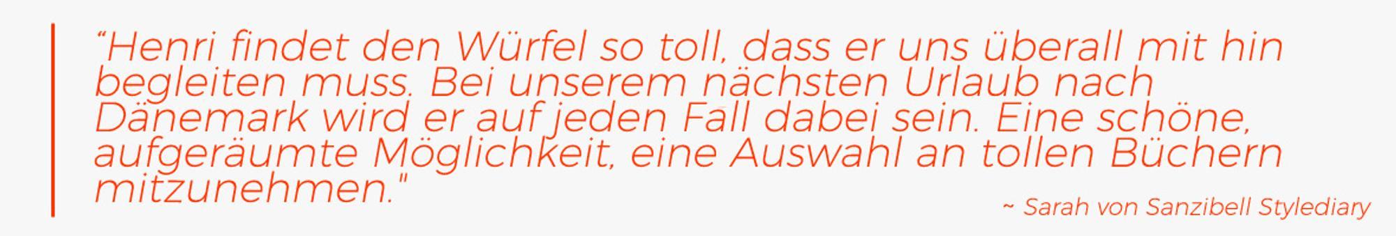 Zitat Sarah von Sanzibell Stylediary über den Ravensburger Bücher-Würfel