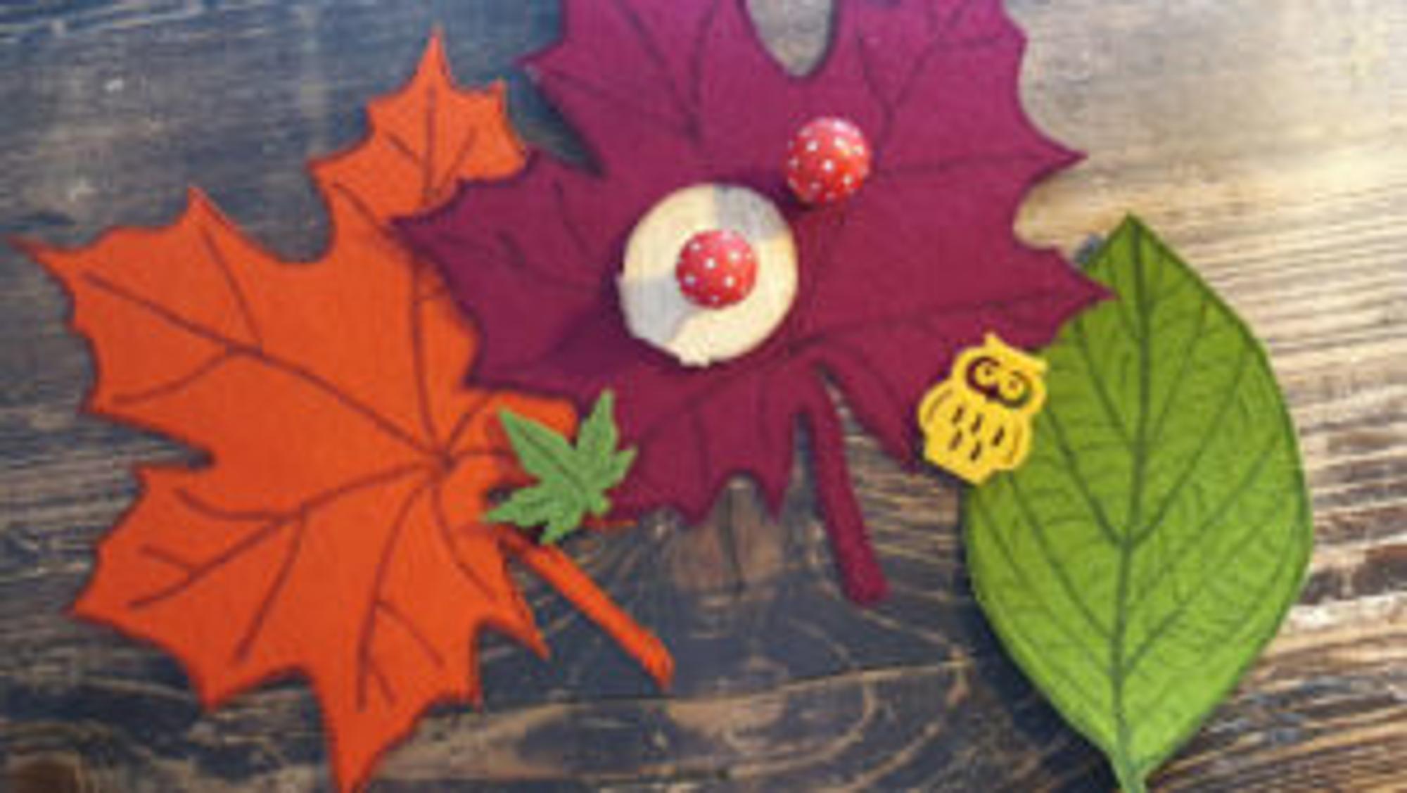 Herbstdeko Basteln - Blatt-Untersetzer aus Filz