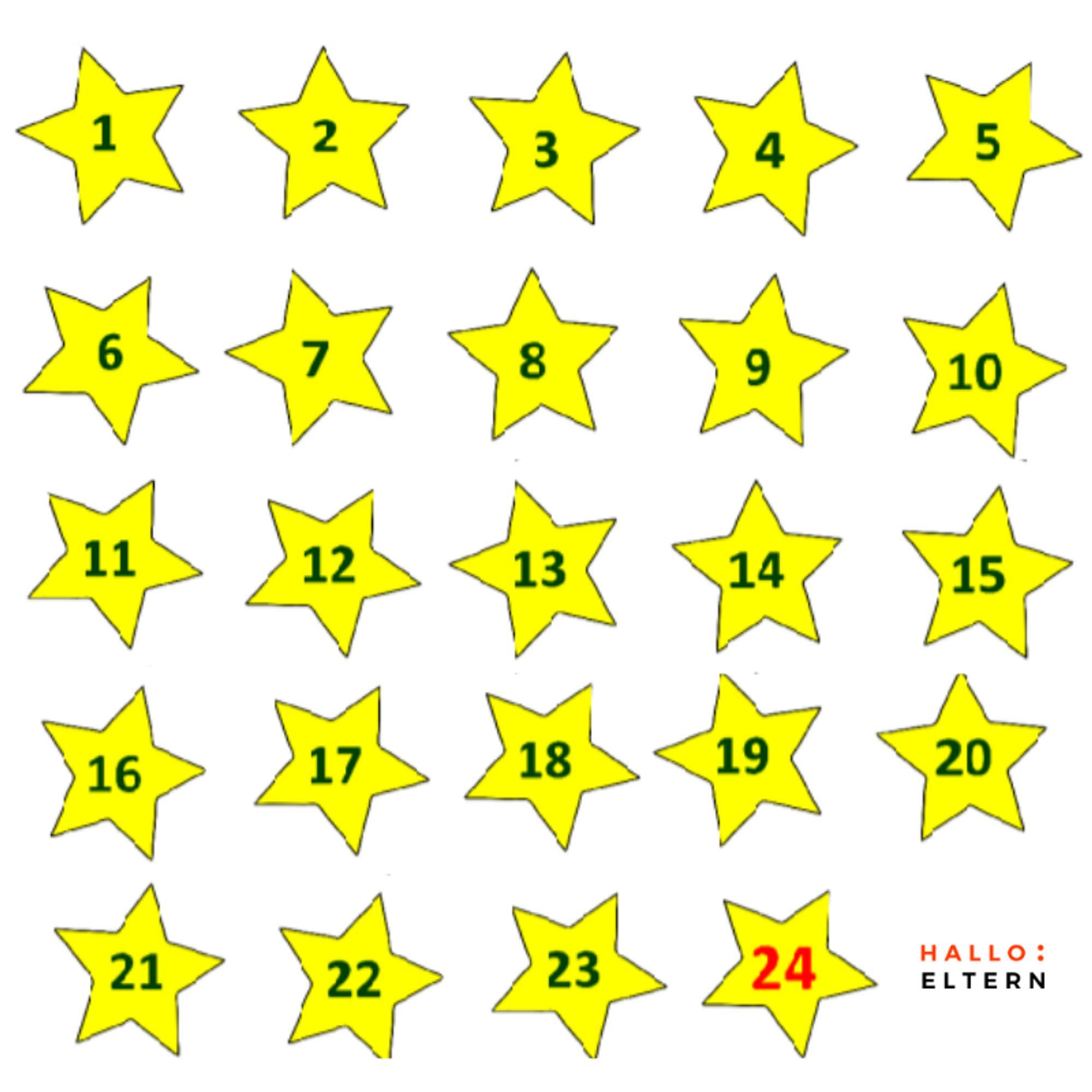 Gratis Vorlage für Sterne als Adventskalender Zahlen