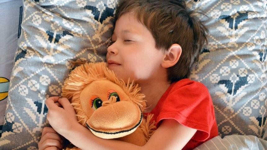 Junge schläft mit Kuscheltier im Arm