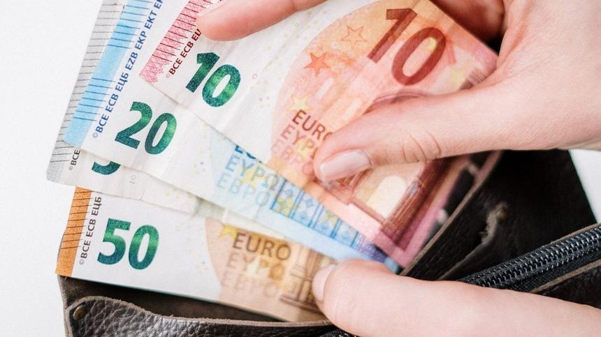 Hand zieht Euro-Geldscheine aus einem Geldbeutel
